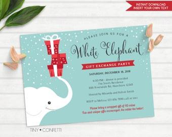 white elephant gift exchange invitation, white elephant invitation, christmas party invitation, christmas party gift exchange, secret santa