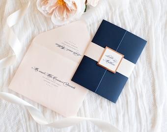 Rose Gold Foil, Navy Blue, Blush Shimmer Wedding Invitation and RSVP Card Suite with Monogram Embellishment - The Smitten Suite
