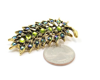Swarovski Crystal Leaf Brooch in Antique Gold