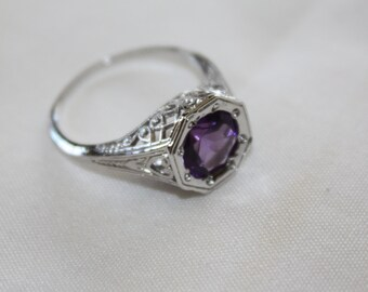 Sterling Filigree Ring Amethyst  Victorian  Engagement Vintage Jewelry