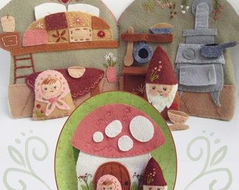 DIY Cozy Mushroom Cottage felt quiet book PDF sewing pattern felt craft kitchen gnome house dollhouse