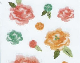 Board sequined flowers laptop stickers of: 12.5 cm x 7.5 cm