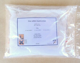 Zinc sulfate heptahydrate - 99.7% pure 50g-100g-200g powder 7446-20-0 Free shipping