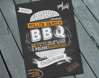 Backyard BBQ Party Invitation: Digital printable file *printing available upon request*