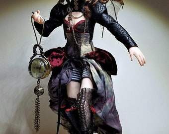 Steampunk OOAK Hand Sculpted Fairy Art Doll Collectible