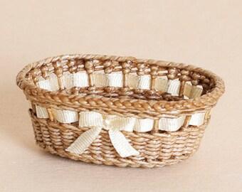 Dollhouse miniature, Wicker diaper basket, scale 1 : 12, WC/105.
