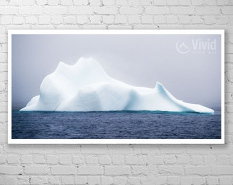 Wall art cold, iceberg photography, panoramic art print, framed picture, atlantic ocean, misty ocean, wide art, matted art, newfoundland