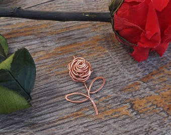 Pendant / copper rose / flower, poetic, love, nature