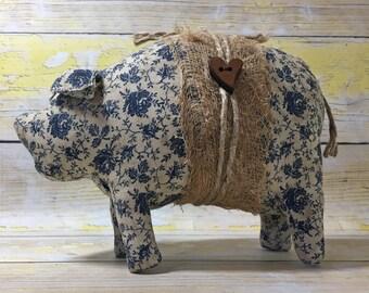 standing pig - primitive country - pig decor - shabby farmhouse decor - country primitive decor - primitive country decor - folk art pigs