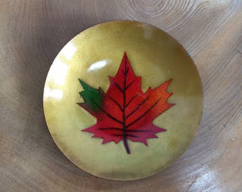 Vintage Mid Century Canadian Enamel Shallow Bowl, Plaque - Orange, Green Maple Leaf on Gold. Sigbed Quebec, A Gagnon ?