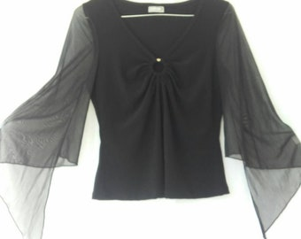 Sheer Angel Sleeve Keyhole Top  Vintage 90s Goth Witchy y2k