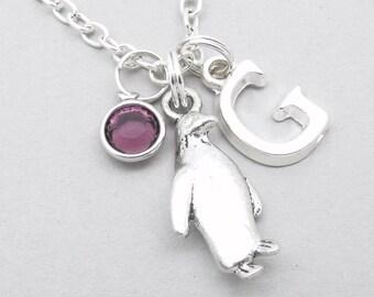 Penguin monogram necklace   penguin charm necklace   penguin pendant   personalised penguin necklace   penguin jewelry   initial letter