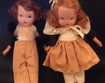 Rare Two,Ann Storybook dolls 1940's, Sweet #112 Dillar, A Dollar a Ten O'clock Scholar