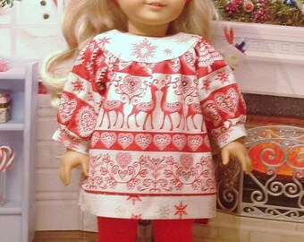 Christmas Dress, Leggings, and Shoes for American Girl