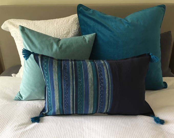 Fair Trade Blue/Teal Stripe Textile + Navy Washed Eco Friendly Linen + Australian Merino Wool Tassel Lumbar Cushion Cover