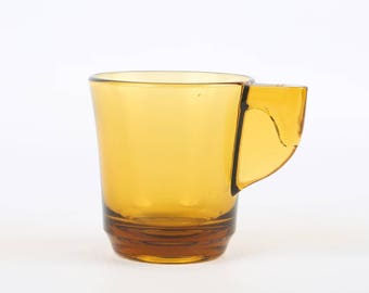 "1960's Modern Amber Glass Demitasse, Excellent Condition, 2-3/8"" H x 2-1/8 "" Top Diameter, Unknown Maker."