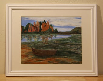 Boat on a lake. Original acrylic painting. Boat painting.