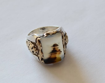 10k Gold and Sterling Picture Agate Ring with Mariner Motif