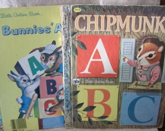 Vintage ABC Little Golden Books, Chipmunk's ABC and Bunnies' ABC