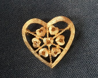 Vintage Heart Brooch with Amber Stones
