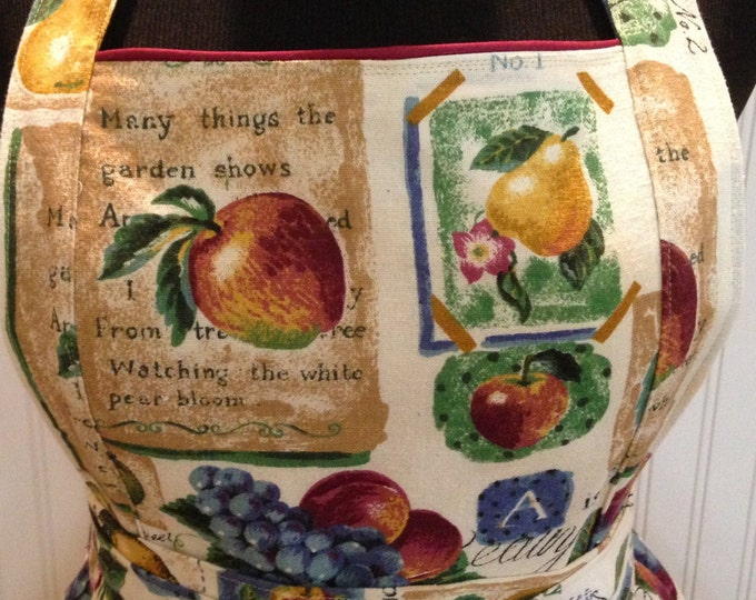 Vintage style mother full apron vintage tablecloth ecru eyelet lace ruffle pears apples green leaves purple grapes  bodice burgundy trim