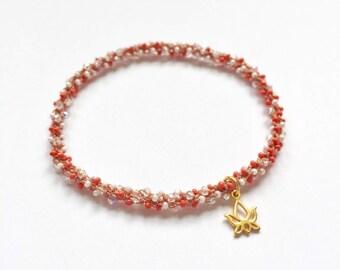 Stackable golden lotus yoga charm bracelet Svadhisthana (sacral chakra)