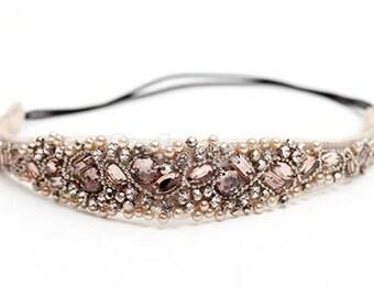 Beaded Elastic Headband Wedding Headpiece Girls Headband Jeweled Headband