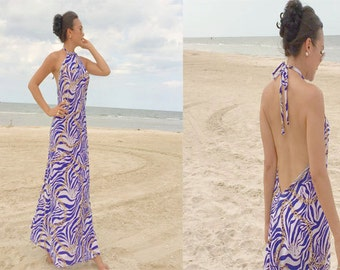 Royal Blue printed Halter open back long maxi dress sun evening XS S M L XL