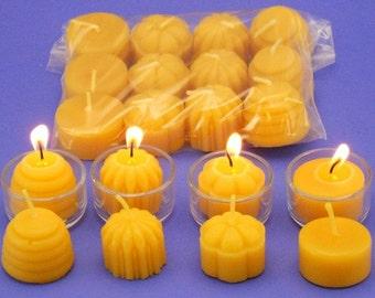 Organic Beeswax Tealights, 12 Mixed Tea Light Candles, Pure Beeswax Candles, Home Decor Candles, Variety Pack, Tea Light Refills,