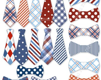 Necktie and Tie Bow clip art set - blue white red printable digital clipart - instant download