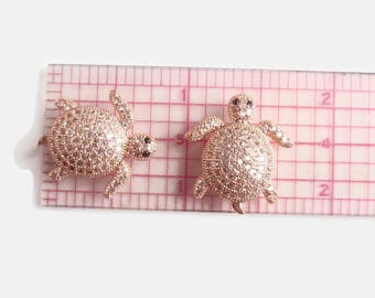 1 Brass Micro Pave Cubic Zirconia Tortoise bead, Jewelry Making Supply, Rose Gold, Lead, Cadmium & Nickel Free