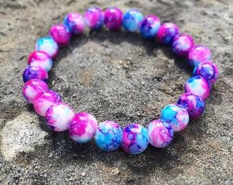 Dark Blue Pink Marble Glass Bead Stretchy Bracelet Gift 8mm Wedding Bridesmaid Bracelet
