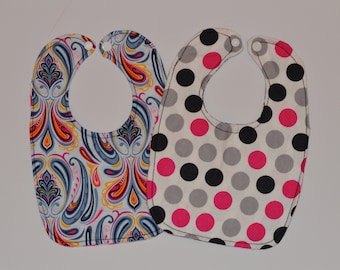 Paisley and Polka Dot Baby Bib