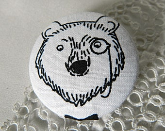 Fabric button, black and white bear, 40 mm / 1.57 in