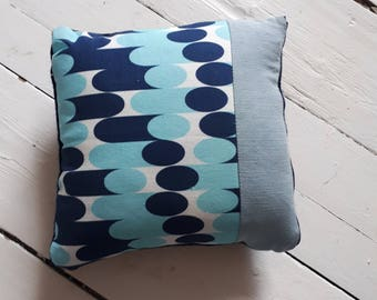 handmade recycled fabric cushion: Laura Spring Studio Offcut - Geometric Navy/Sky Blue with repurposed denim/wool