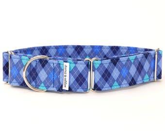 Blue Argyle Martingale Collar