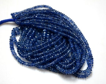 5 Strands Wholesale Kyanite Rondelles Lot, Kyanite Faceted Rondelles For Neckles, 3mm To 6.5mm, 16 inches