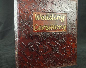 A5 Handmade Wedding Celebrant's Ring Binder (US Notebook) Hand-tooled in Leather