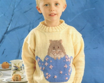 A Pre-owned Knitting Pattern Leaflet, Dormouse Sweater from the Alice in Wonderland knitting pattern collection.