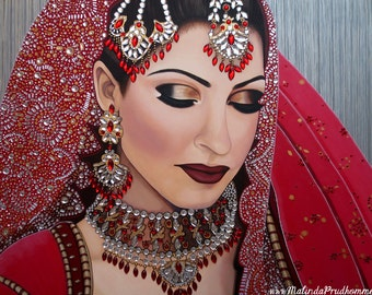 Custom Wedding Portrait - Indian Bride Painting - By Toronto Portrait Artist Malinda Prud'homme