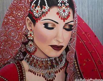 Portrait de mariage personnalisée - peinture indienne mariée - par Toronto Portrait artiste martial Prud'homme