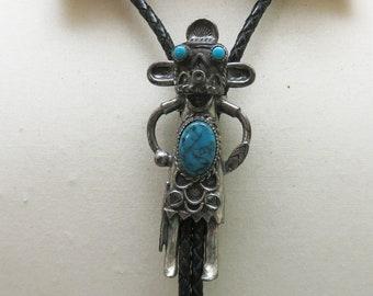 1980s HUGE Faux Turquoise  Kachina  Bolo Tie, Native American Bolo Tie