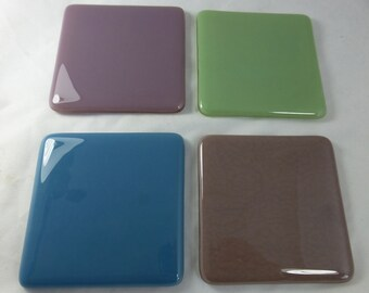 Fused Glass Dusky Blue, Lilac, Celadon Green and Mink Coasters - set of 4