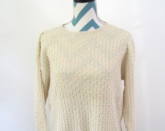 Vintage Pearl Knit Sweater - Cream Ivory - Medium - By Lilly of California - 1980s Style - Embellished Chunky Knit Sweater