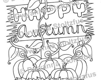 Happy Autumn Coloring Page JPG