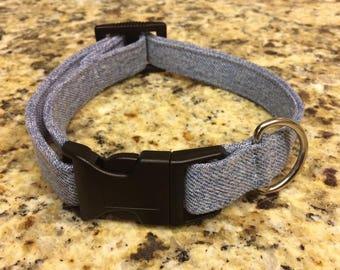 Denim Dog Collar, medium dog