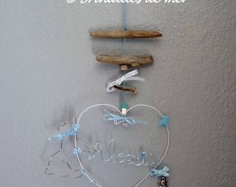 Name heart Teddy made of wire and Driftwood mobile-able