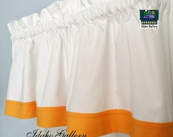 White Curtain with Goldfish Orange Trim Window Valance Short Curtain Kitchen Curtain or Bedroom Valance Idaho Gallery Original