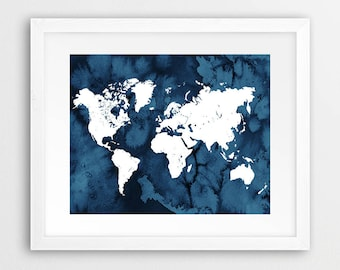 Navy blue world map etsy gumiabroncs Images