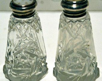 Antique Pinwheel Salt and Pepper Shakers